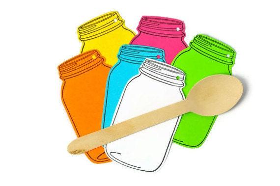 Neon Mason jar rainbow gift tags. Kitchen paper cuts - Gift Tags - Gift emebellishments Raspberry, yellow, tangerine, turquoise, lime green