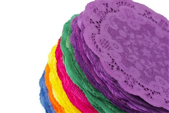 Colored paper doilies . hand dyed in fiesta colors . round paper ...