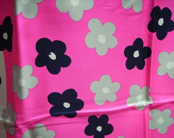 60s Yves Saint Laurent YSL Hot Pink Silk Scarf with Op Art Flowers Early & Rare!
