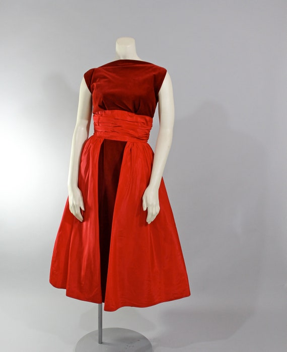 1950s Vintage Dress...Holiday Fashion Red Velvet 50s Formal Party Dress with Taffeta Overskirt Bustle Size Small