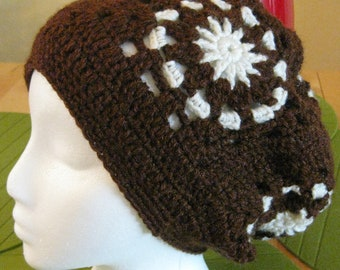 Brown Crocheted Slouchy hat