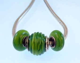 Lampwork Big Hole Charm Bead Trio - 'Kiwi'