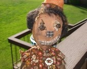 Extreme Primitive Pumpkin Head Fall  Cloth Doll