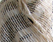 Bridal Stole in Gold and White - Handwoven Bridal Shawl, Spanish Lace