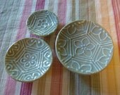 3 size, stackable, candle / soap  plates (smaller) - Lavender, Pentagon Pattern