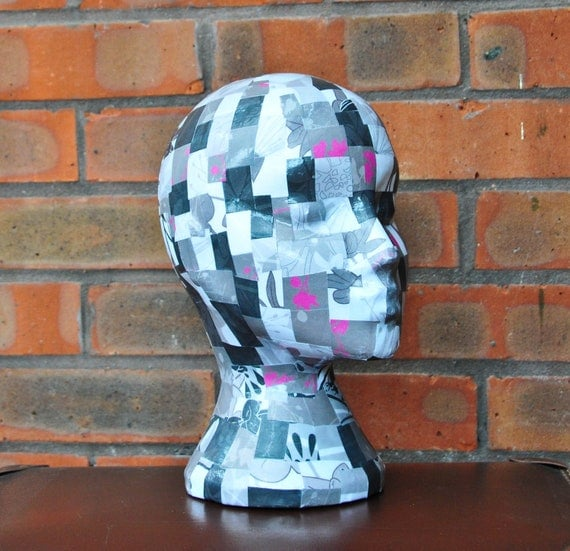50 Shades of Grey Decoupaged Mannequin Head Wig Hat Display