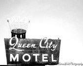 Old Sign BW Photography Monochrome Crown Queen City Motel Architectural  8x10