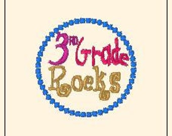 3rd Grade Rocks Hair Bow Center Embroidery Design Machine Applique