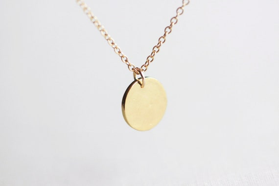 Tiny Gold Dot Necklace - gold disc circle with dandelion charm on 14k gold filled chain