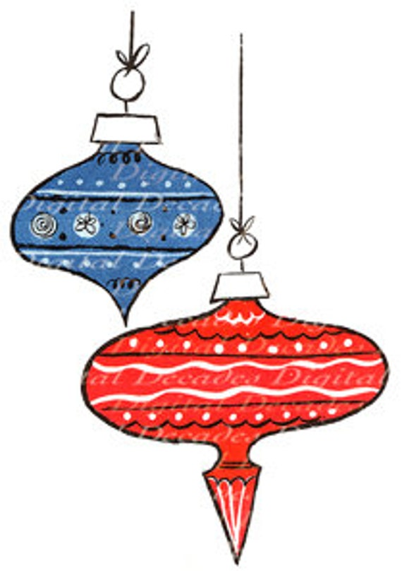Items similar to Christmas Tree Ornaments Funky Mid ...