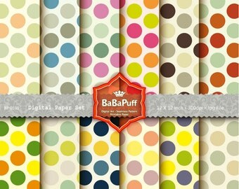 Instant Downloads, 12 Digital Polka Dots Papers. Clip Art For Packaging, Handmade Craft Projects. Personal and Small Commercial Use. BP 0599
