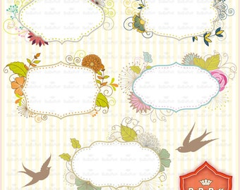 Instant Downloads, 5 Digital Floral Frames and 2 Birds, Make Cards DIY, Invitations, Clip Art for Personal and Small Commercial Use. BP 0685