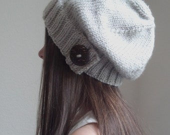 Knit slouchy hat with button/s - LINEN (more colors available - made to order)