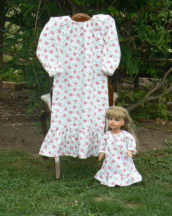 Floral Nightgown  and 18 or 16 inch matching  dolly gown size 2 to girls size 5 LAST SET in this print