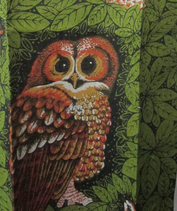 Reserve for Kris - Retro Vintage Linen Owl Tea Towel - Set of 3