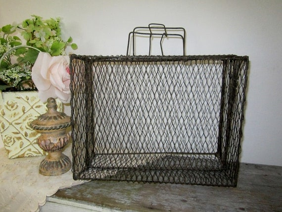 shabby chic wire basket tote by cozycottagechic on etsy