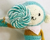 Amigurumi Crocheted Monkey in Turquoise Blue, Mustard Yellow - Blue Monkey doll in Yellow top and Polkadot scarf