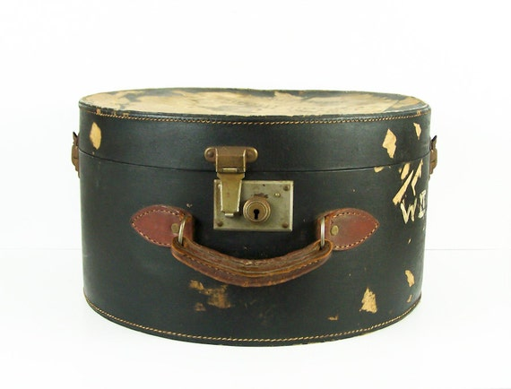 Vintage 1940s Leather Hat Box From London England Victorian with Pink Floral Lining