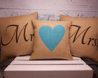 """Mr and Mrs burlap pillows - set of  3 - two 14"""" Mr and Mrs and a 12"""" heart"""