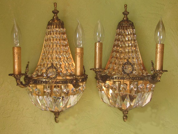 Sconce Pair,  1920s Antique Brass and Crystal Empire Style