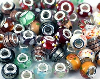 50 Lampwork European Beads, with Double Brass Core
