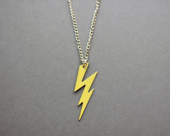 lightning bolt necklace yellow modern handmade jewellery