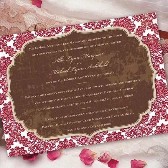 wedding invitations, bridal shower invitations, cranberry and chocolate bridal shower invitations, cranberry damask baby shower invitations
