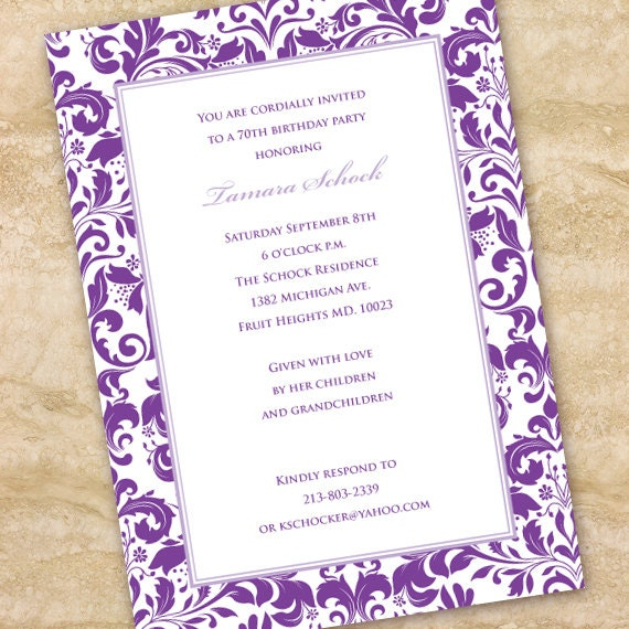 bridal shower invitations, purple bridal shower invitations, lavendar bridal shower invitations, purple retirement party, purple wedding