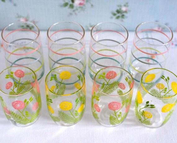 Coordinated Vintage Glass Set, Eight