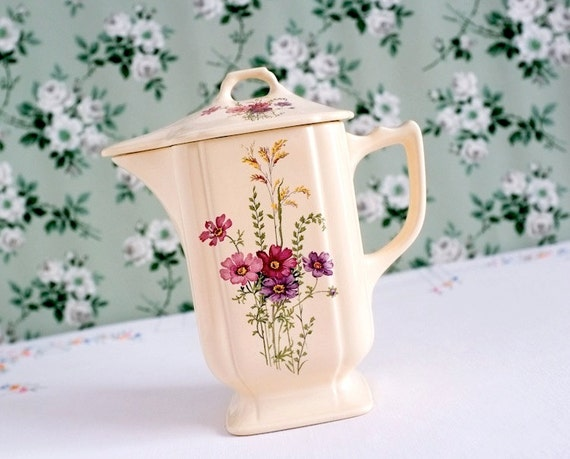 Vintage Covered Pitcher with Flowers
