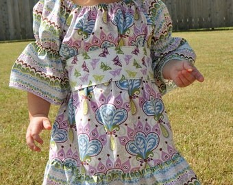 Serenade Peasant Dress with Butterfly Sash SIZES 6/12 mos-5T