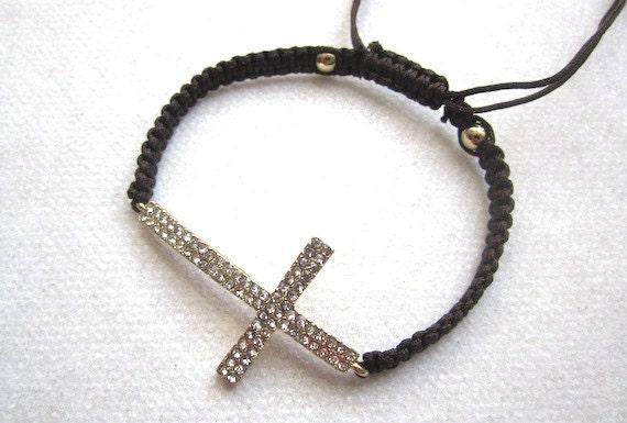 Gold tone Sideways CROSS w double row of crystals- Charm Friendship Bracelets brown cording