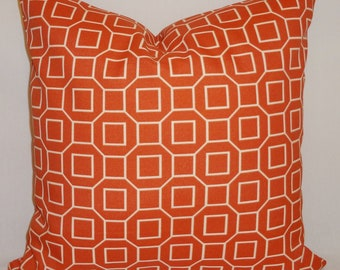 OVERSTOCK OUTDOOR Pillow Orange Geometric Design Indoor/Outdoor Pillow Covers 18x18
