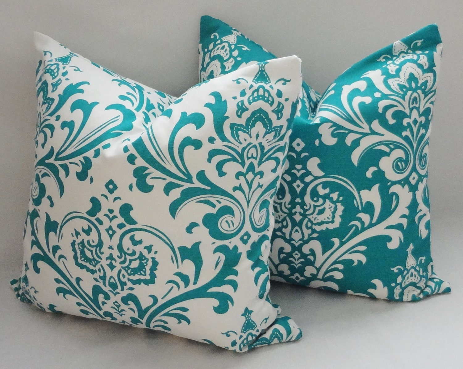 Decorative Throw Pillows Etsy : Items similar to Two Decorative Pillow Turquoise Damask Pillow Covers Throw Pillows 16x16 on Etsy