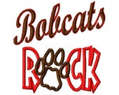 Bobcats ROCK - Paw Print - Applique - Machine Embroidery Design -  8 sizes