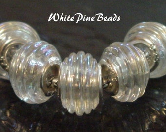 Crystal Clear Ribbed Murano Glass Bead Fits European Style Bracelets