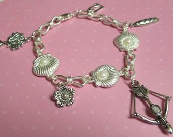 Hunting Archery Pearl Themed Charm Bracelet