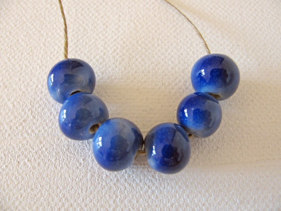 Berry Blue Beads Handmade Clay