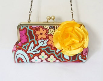 Summer of Love Bridal and Bridesmaid Clutch- Colorful Bohemian Print