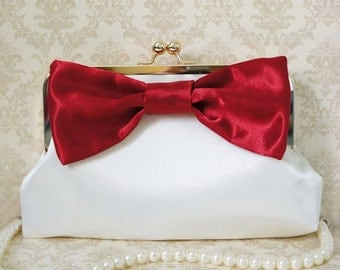 Romantic Red Clutch Purse with Big Bow- Custom