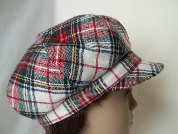 """22""""-- Pretty Red White and Green Wool Plaid Newsboy"""