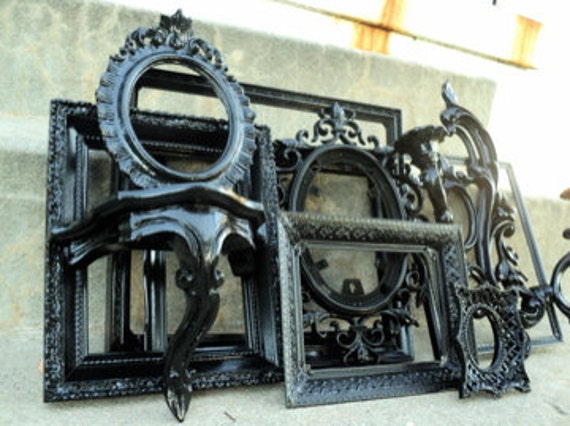Large Black Picture Frame Set with Mirror Shelf Sconce Vintage