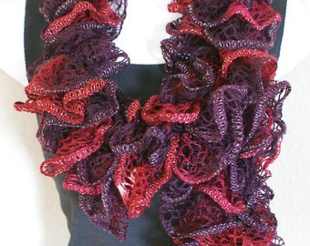 Ruffle lace soft scarf hand knit multicolored Burberry maroon red with silver shiny