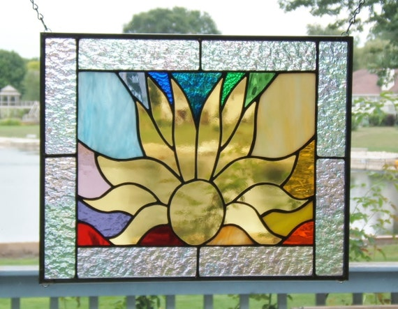 Stained glass window panel sunrise into a rainbow abstract stained glass panel window hanging