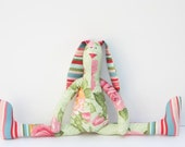 Handmade stuffed bunny- Plush softie light green pink rose stripes bunny rabbit hare,softie toy -stuffed animal toy.Gift for girl and mom