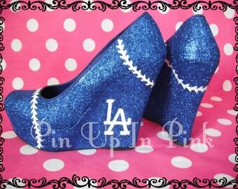 Blue Dodgers Diva Baseball Heels