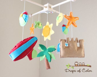 Baby Crib Mobile - Baby Mobile - Beach Surf Crib Mobile - Ocean Crib Mobile - Summer (You Can Pick Your Colors)