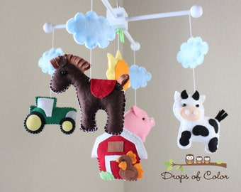 Farm Mobile, Baby Crib Mobile, Baby Mobile, Handmade Nursery Decor, Red Barn, Animals, Cow, Pig, Dog, Rooster, Horse, Old Macdonald Farm