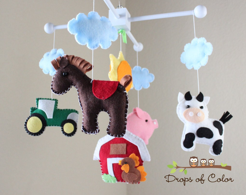 farm mobile baby crib mobile baby mobile handmade nursery. Black Bedroom Furniture Sets. Home Design Ideas
