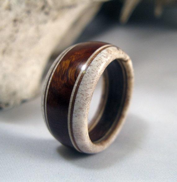 Ironheart Wood Ring - Ironwood and Deer Antler Band Ring